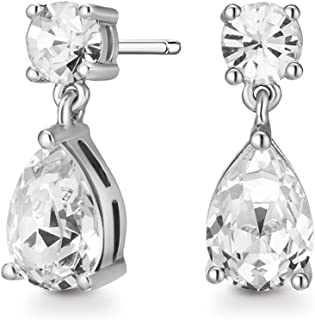 Mestige Womens Stainless Steel Samira Earrings with Swarovski Crystals - MSER3960, Color Silver