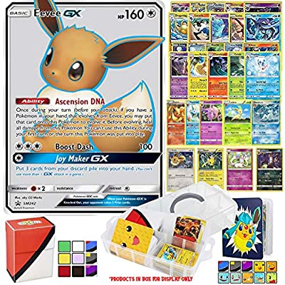 Totem World Eevee GX Pokémon Card Collector Box - All 8 Eevee Evolution Cards Guaranteed - Plus 1 Eevee, 10 Rares and Foil Cards with Clear Storage Case, Binder & Deck Box - Flareon Jolteon Vaporeon by Totem World