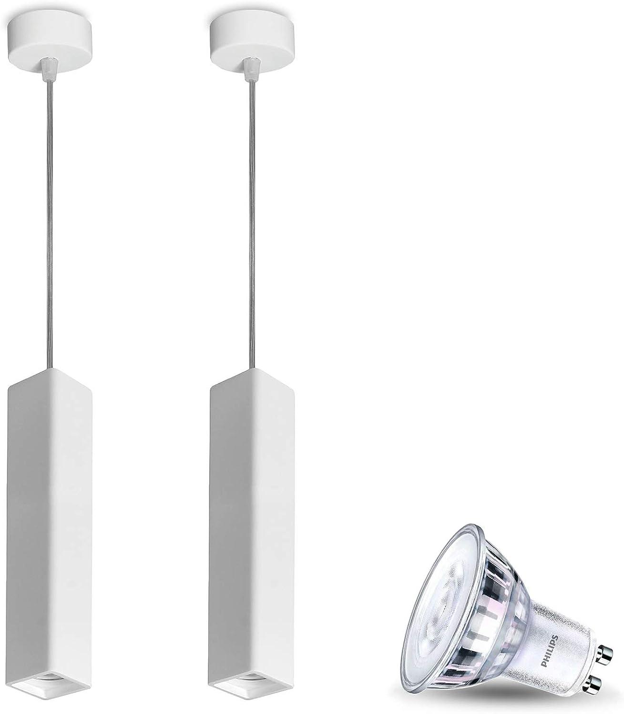 Pendel-Leuchte Deckenleuchte aus Gips LUNA (Weiss) Eckig DIMMBAR Inkl. 2 X 5W LED Warm Glow Warmweiss 230V IP20 Gipslampe überstreichbar,Kronleuchter,Modern Hngeleuchte für Wohnzimmer Esszimmer Büro