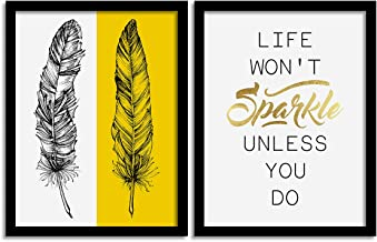 Painting Mantra Set of 2 Yellow Sparkle Feather Matte Art Print, Painting for Home Décor, Paintings with Frame for Living ...