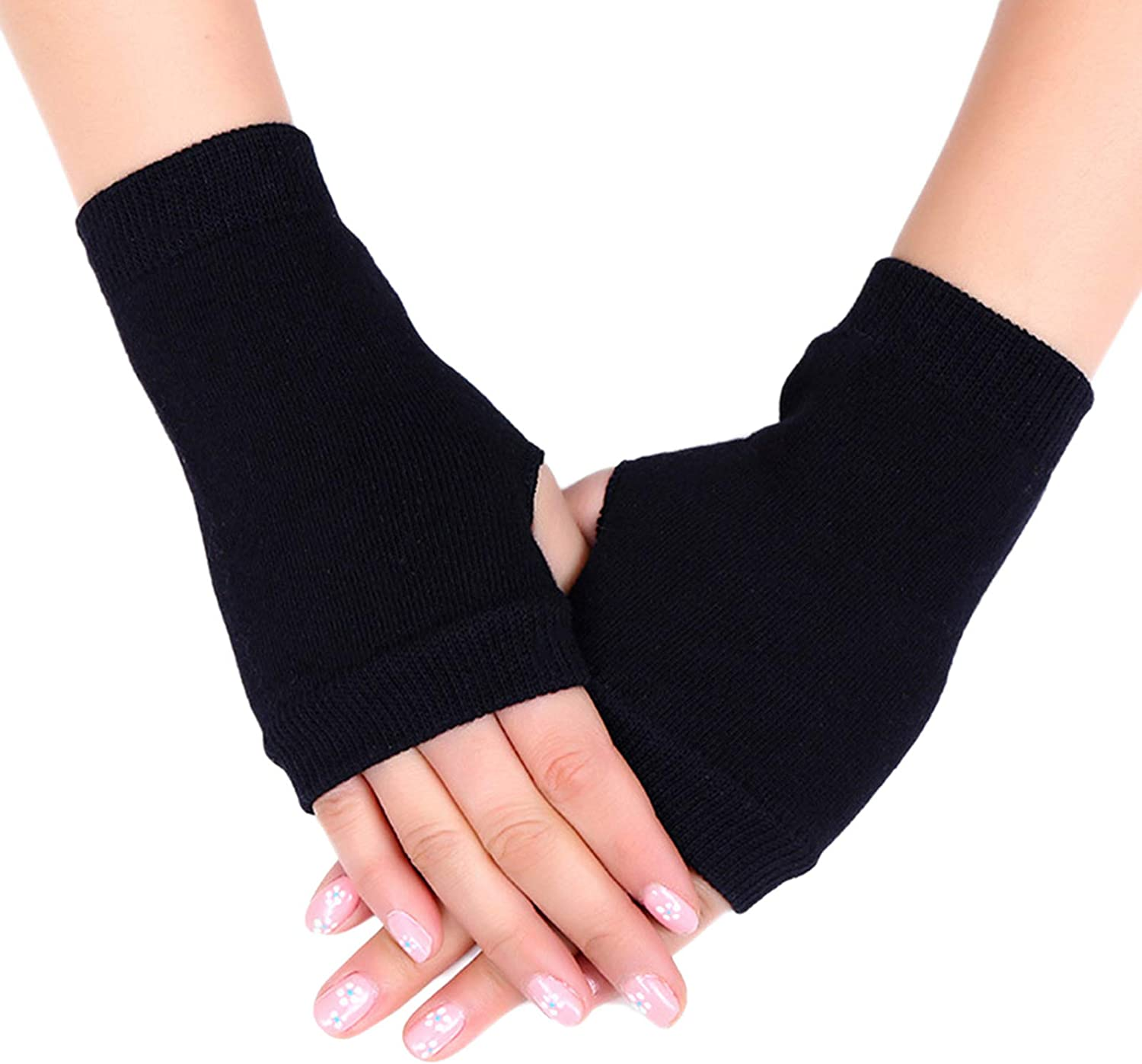 Unisex Gloves Cotton Knitted Stretchy Warm Fingerless Glove Solid Color Thumb Hole Thermal Mittens