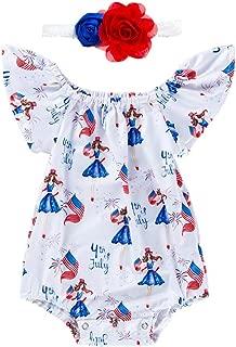 Baby Girls Clothes Sets, Newborn Funny Cartoon Print Ruffle Off Shoulder Romper Jumpsuit + Flower Headbands Outfits
