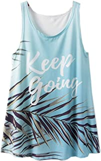 ACVIP Women's Tropical Theme Hot Weather Loose-fit Tank Top Singlet Shirt