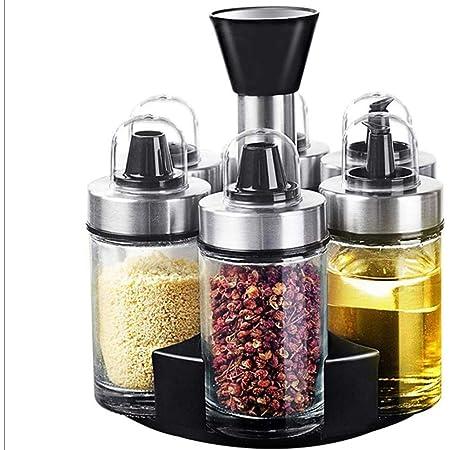 Revolving Spice Rack Organizer, Olive Oil Dispenser and Vinegar Bottle Set of 6 Bottles, Spinning Countertop Herb and Spice Rack Organizer(Spices Not Included)