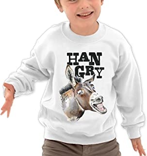 NVLILO Children Hangry Donkey With White Teeth Funny Donkey Cool Crew Neck Cotton Hoodie Pullover Hooded Sweatshirt