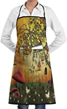 EMODFJCXZ Cooking Apron Fantasy House Decor Collection Wonderland Forest with Fairies Butterflies Elves and Apple Tree Magical Universe Unisex W20 x L28 Multi