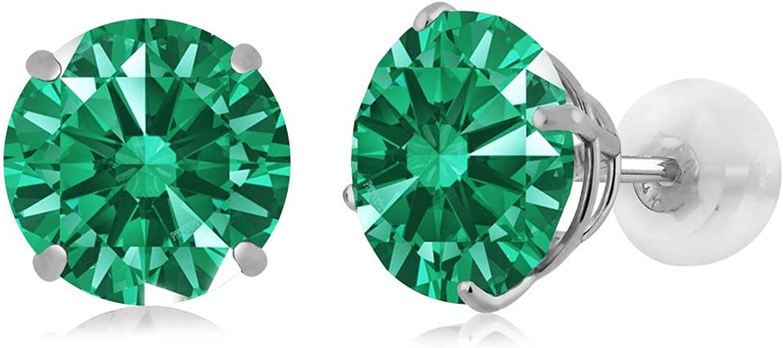 Carlo white Green 14k White gold Earrings Made With Swarovski Zirconia
