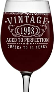 Vintage 1998 Etched 16oz Stemmed Wine Glass - 21st Birthday Aged to Perfection - 21 years old gifts