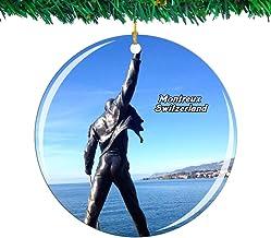 Weekino Suiza Freddie Mercury Memorial Montreux Navidad Ornamento Ciudad Viajar Recuerdo Colección Doble Cara Porcelana 2.85 Pulgadas Decoración de árbol Colgante
