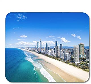 Edmun Alfombrilla de ratón Vista aérea Azul de Surfers Paradise Gold Coast Australia Alfombrilla de ratón para portátiles Ordenadores Alfombrillas de ratón Suministros de Oficina