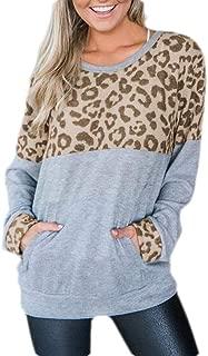 FSSE Women Top Long Sleeve Leopard Print Loose Fall Pullover Sweatshirt