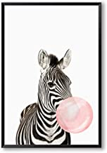 Bubble Chewing Gum Giraffe Zebra Animal Posters Canvas Art Painting Wall Art Nursery Decorative Picture Nordic Style Kids Deco,60x80cm No Frame,AN135-2