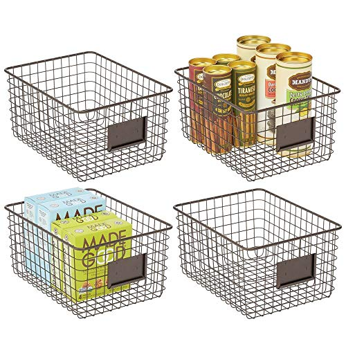 mDesign 4er-Set Allzweckkorb aus Metall – Aufbewahrungskorb für Küche, Vorratskammer etc. – kompakter und universeller Drahtkorb – bronzefarben