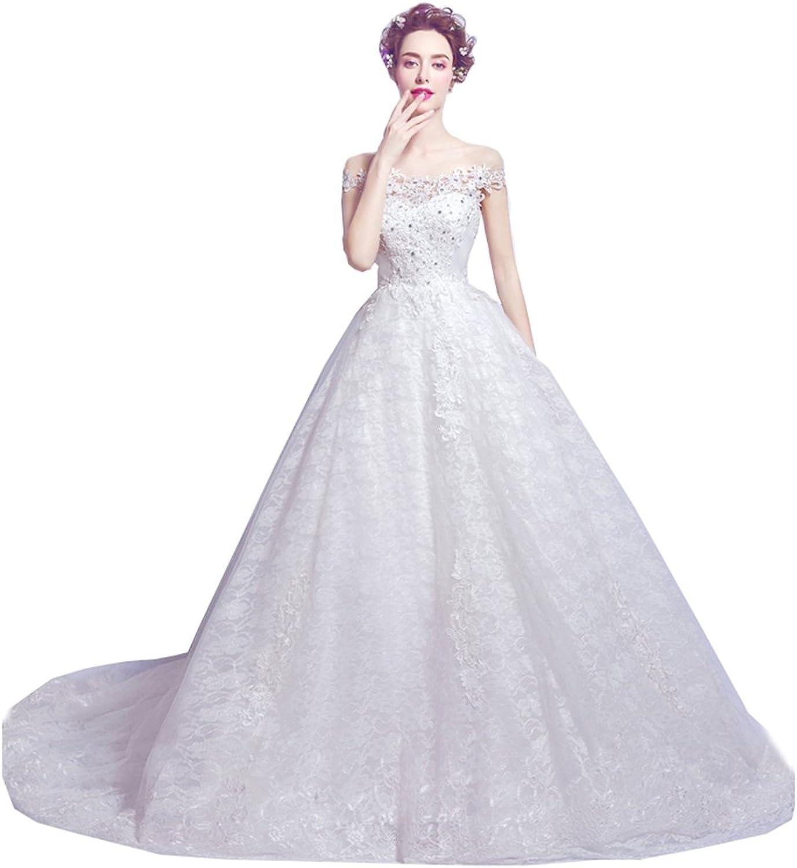 Kmformals Women's Off The Shoulder Beaded Lace Wedding Dress Corset Back Bride Gown