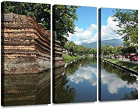 Chiangmai Moat and Ancient Wall Print On Canvas Wall Artwork Modern Photography Home Decor Unique Pattern Stretched and Framed 3 Piece