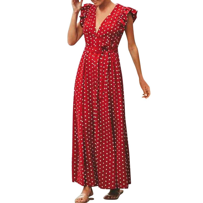 Kingfansion Womens Summer Boho Maxi Dresses Polka Dot Ruffle Sleeveless V-Neck Party Cocktail Dress