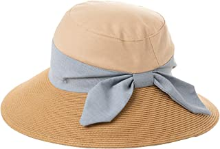 Siggi Womens UPF50+ Linen/Cotton Summer Sunhat Bucket Packable Hats w/Chin Cord - Brown - Medium