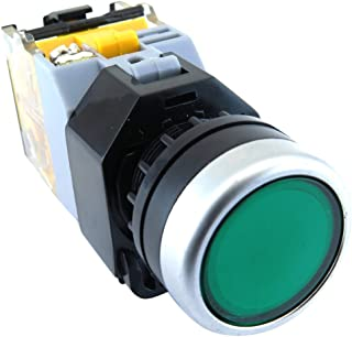YuCo YC-P22PMA-IFG-1 22mm Flush Push Button Maintained Illuminated 24V AC/DC,IEC 947 Certificated 250V Maximum, Contact 10Amp, Green