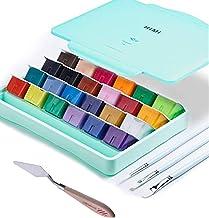 AOOK HIMI Gouache Juego de pintura Jelly Cup, 24 colores vibrantes, pinturas no tóxicas con paleta de estuche portátil par...