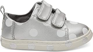 TOMS Kids Baby Girl's Lenny (Infant/Toddler/Little Kid) Silver Pearlized Synthetic Leather Dots 7 M US Toddler