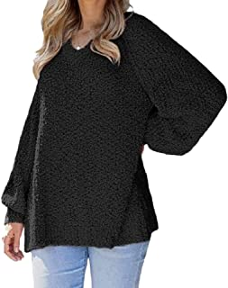 Womens Casual Round Neck Loose Solid Color Long Sleeves Shaggy Pullover Jumper Sweaters