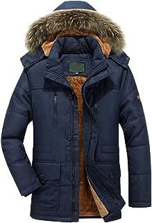 Men's Winter Warm Faux Fur Lined Thicken Trench Outwear Zipper Trench Coat Detachable Hood Jacket