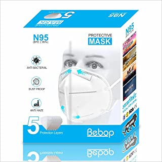 Bebop® N95 Face Mask | 5 Layered High Filtration Capacity with genuine Meltblown and Hot Air Cotton | Five Layer Reusable ...