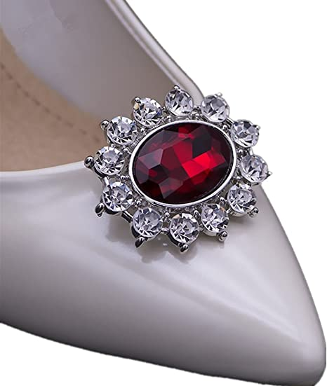 History of Victorian Boots & Shoes for Women Ruihfas Casualfashion 2Pcs Sparkly Removable Oval Egg Shape Crystal Shoe Clips Accessories for Women Bride Wedding Prom Party Shoes Decoration (Red)  AT vintagedancer.com
