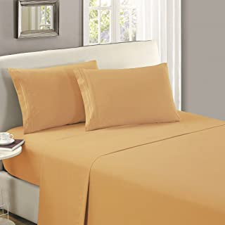 Mellanni Flat Sheet Twin XL Gold - Brushed Microfiber 1800 Bedding - College Dorm Room Top Sheet - Wrinkle, Fade, Stain Resistant - Hypoallergenic (Twin XL, Gold)