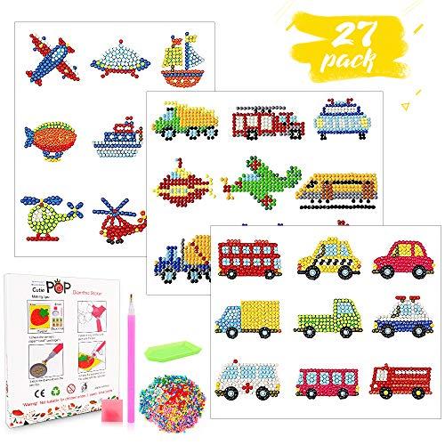 Eyscoco 5D Diamand Painting Set,27 Stücke Diamant Malerei Kits für Kinder DIY Auto Diamant Aufkleber Kit Tiermalerei mit Auto für Kinder und Erwachsene Anfänger(Auto)