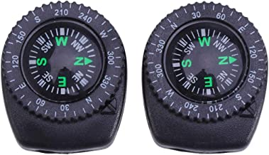 LIOOBO 2pcs Button Compasses Detachable Waterproof Portable for Survival Watch Band Hiking Camping Motoring Boating Backpacking Gift and Collection