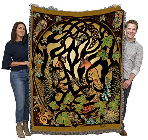 Woodland Fox and Forest Animals - Celtic - Jen Delyth - Blanket Throw Woven from Cotton - Made in The USA (72x54)
