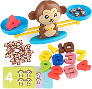 D-FantiX Monkey Balance Cool Math Game Counting Numbers Balance Scale Toy Kids Addition and Subtraction STEM Montessori Toys for Boys Girls Age 3+