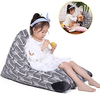 Stuffed Animal Storage Bean Bag Chair for Kids and Adults. Premium Canvas Stuffie Seat - Cover ONLY (Grey with White Arrows 100L/26 Gal)
