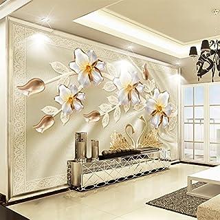 Wallpaper Experten Custom 3D Wall Mural Papier Peint En Soie De Luxe Bijoux Fleur Swan Plat Contexte Papier Peint Décoration Salon Peinture Moderne200cmX140cm