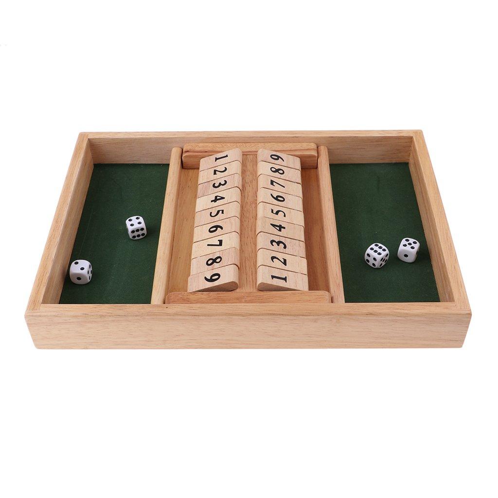 IPOTCH Juego De Mesa Wooden Shut The Box con 2 Juegos De Dados Y Números para 2-4 Jugadores - 33.7 x 23.5 x 4 cm: Amazon.es: Juguetes y juegos