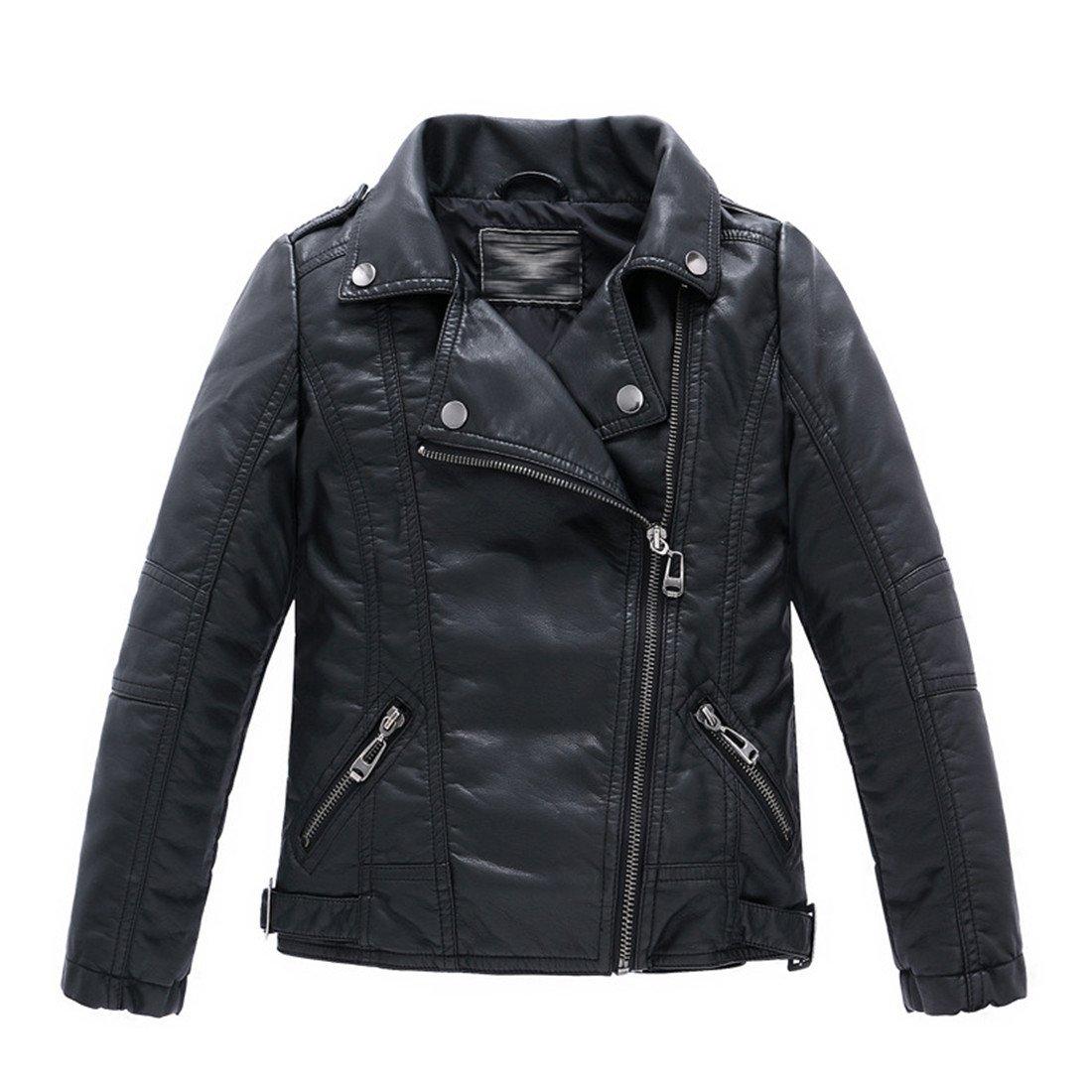 LJYH Girls New Stand Collar Slim Fit PU Leather Jacket Kids Zipper Coat
