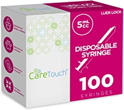 5ml Syringe Only with Luer Lock Tip - 100 Syringes by Care Touch (No needle)