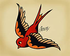 Uptell 12x16inch Metal Sign-Sailor Jerry Swallow Sign Metal Wall Sign Plaque Vintage Retro Tin Sign Wall Home Coffee Decor