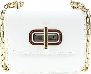 حقيبة كروس صغيرة بقفل دوار للنساء من تومي هيلفجر - لون ابيض- AW0AW07993