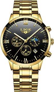 LIGE Montre Homme Or Acier Inoxydable étanche Bracelet Montre Chronographe Quartz Analogique Montre pour Homme Phase Lunaire