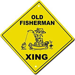 Tin Sign Fashion Old Fisherman Crossing Novelty Sign Aluminum Wall Plaque for Indoor Outdoor 7.8x11.8 Inch