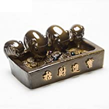 Color Change Resin Tea Pet Kungfu Tea Tray Accessories Decoration for Home and Office Handmade Best Gift Four Pig Statues