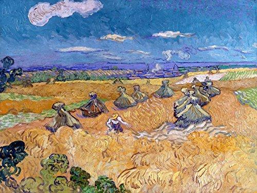 Feeling at home Lienzo-con-AMERICANO-CAJA-Trigo-Campos-con-Segador-Auvers-Van-Gogh-Vincent-Paisaje-Fine-Art-impresión-sobre madera-marco-Horizontal-33x43_in