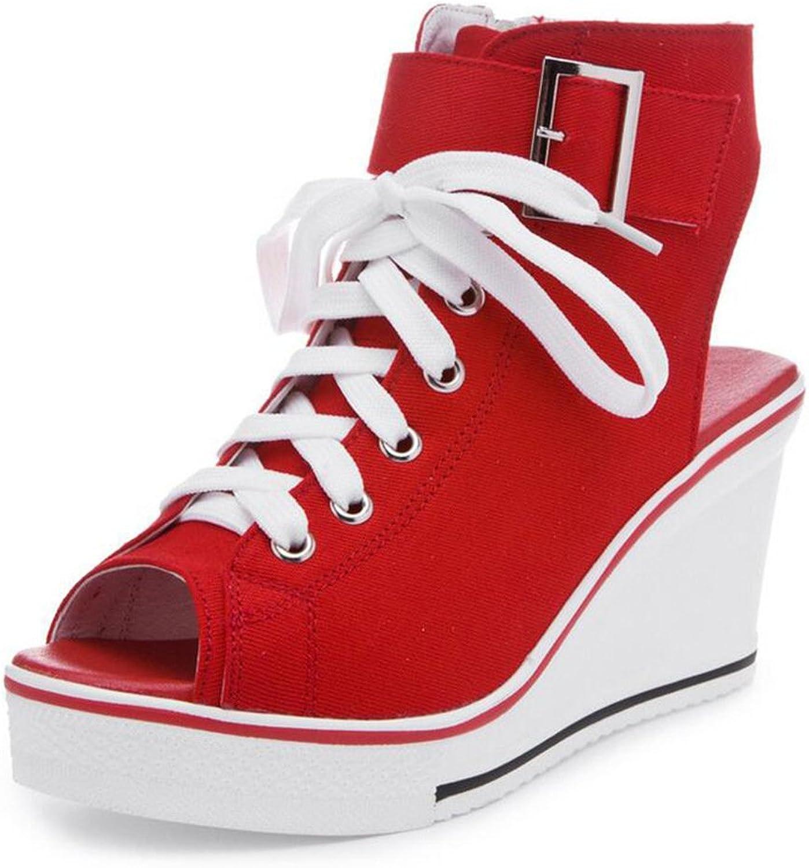 PP Fashion Women's Peep-Toe Wedges Platform Canvas Sneakers Fashion Pump shoes