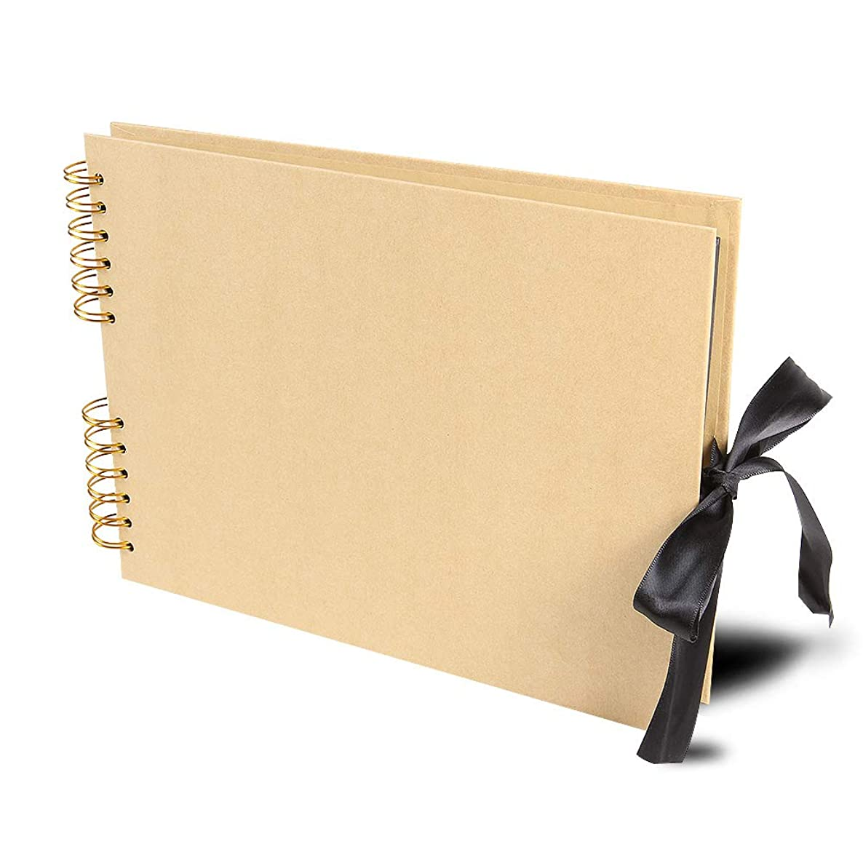 QC Home DIY Scrapbook Photo Album 80 Pages Silk ribbon Album Craft Paper Album, 11.4x8.38 Inches, with Photo Album Storage Box DIY Accessories Kit (Yellow)