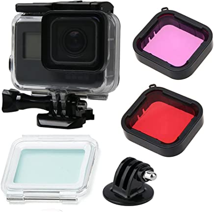 Gopro Hero (2018)/7 Black/6/5 Accessories with Underwater Waterproof Dive Protective Housing Case Bracket and GoPro Filter (Red + Purple)