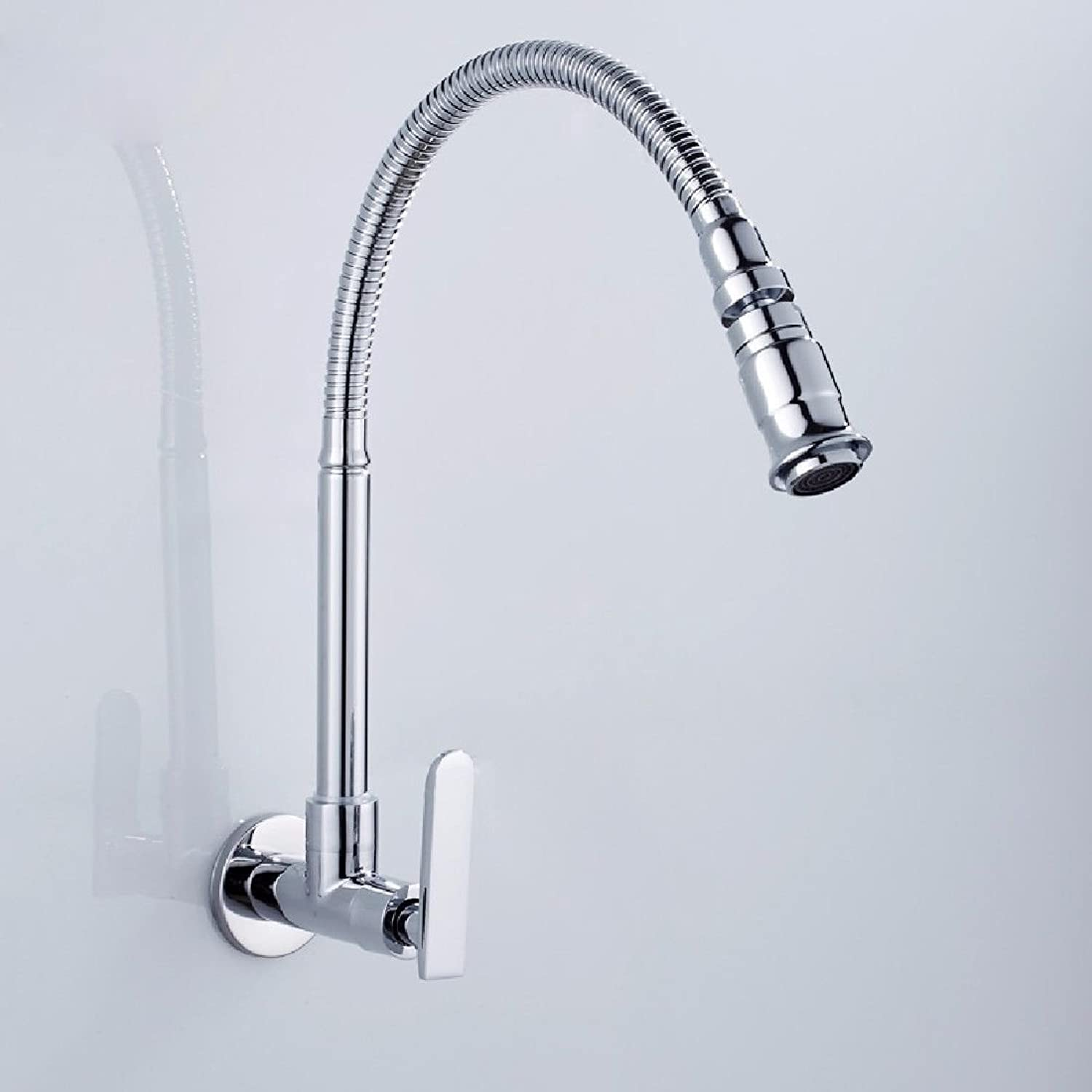 Lpophy Bathroom Sink Mixer Taps Faucet Bath Waterfall Cold and Hot Water Tap for Washroom Bathroom and Kitchen Single Cold All-Copper Universal Tube Into Wall