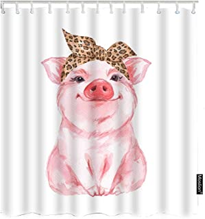 Moslion Pig Bath Shower Curtain Set Farm Animal Funny Cute Piggy Wearing Leopard Bandana Shower Curtains Home Decorative Extra Long Polyester Fabric Shower Curtain with Hooks 72x72 Inch Pink