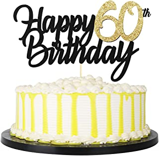 PALASASA Black Gold Glitter Happy Birthday cake topper - 60 Anniversary/Birthday Cake Topper Party Decoration (60th)